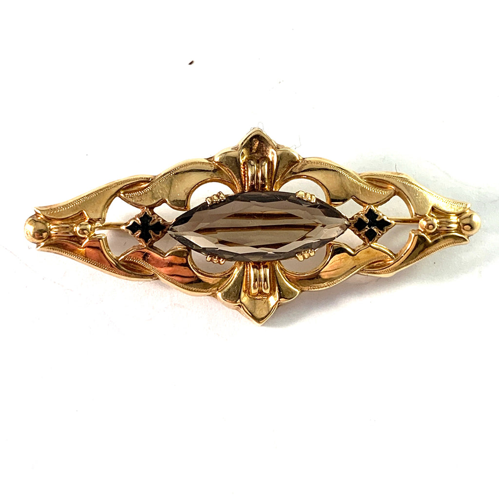 Antique Edwardian 18k Gold Quartz Enamel Brooch.