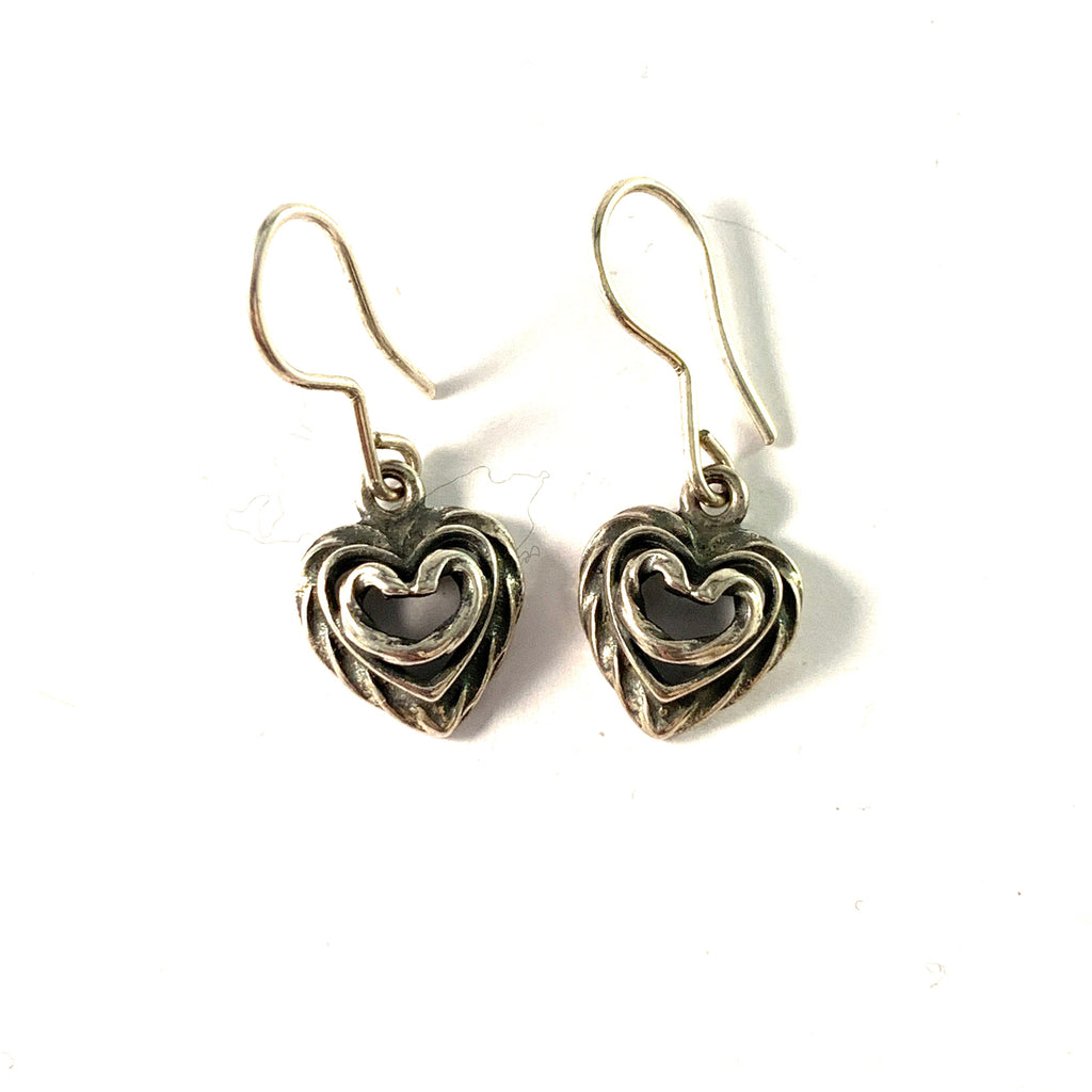 Kalevala Koru, Finland. Vintage Sterling Silver Heart Earrings.