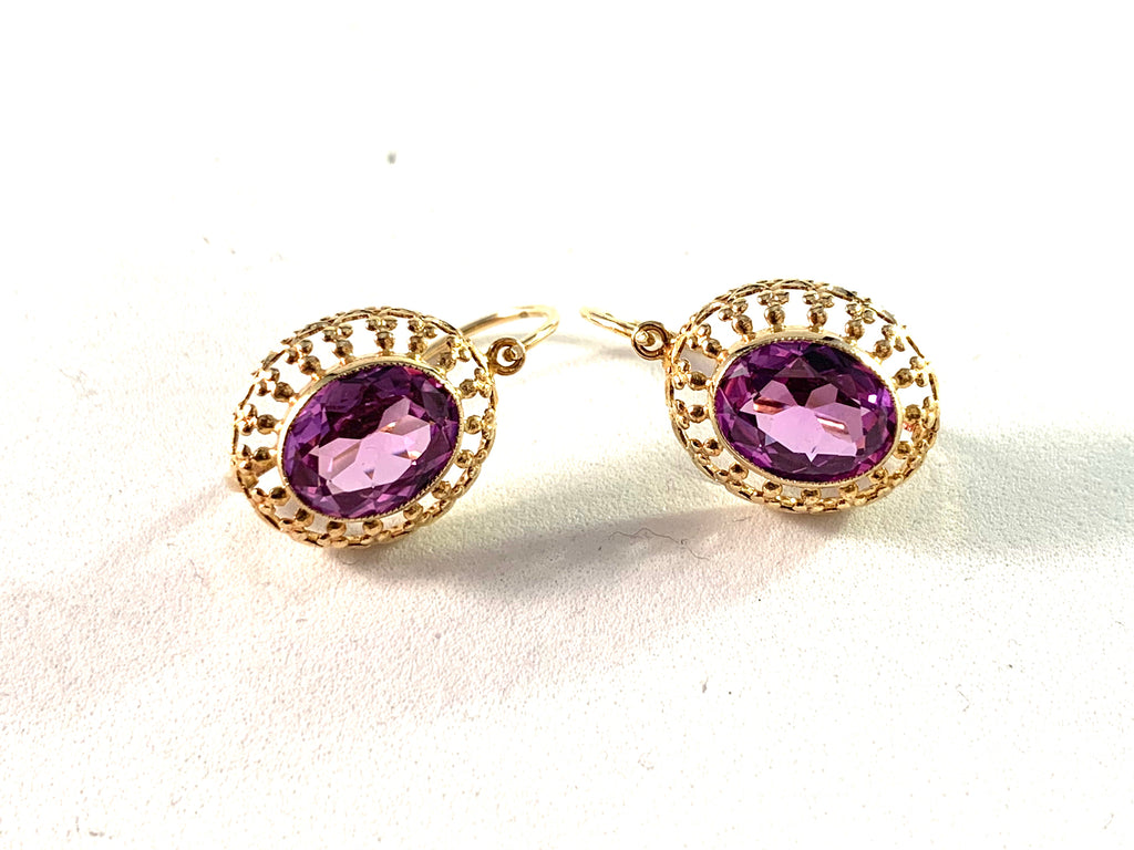 Vintage Mid Century 14k Gold Amethyst Earrings.