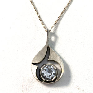 Karl Laine, Finland Vintage Sterling Silver Rock Crystal Pendant Long Chain Necklace.