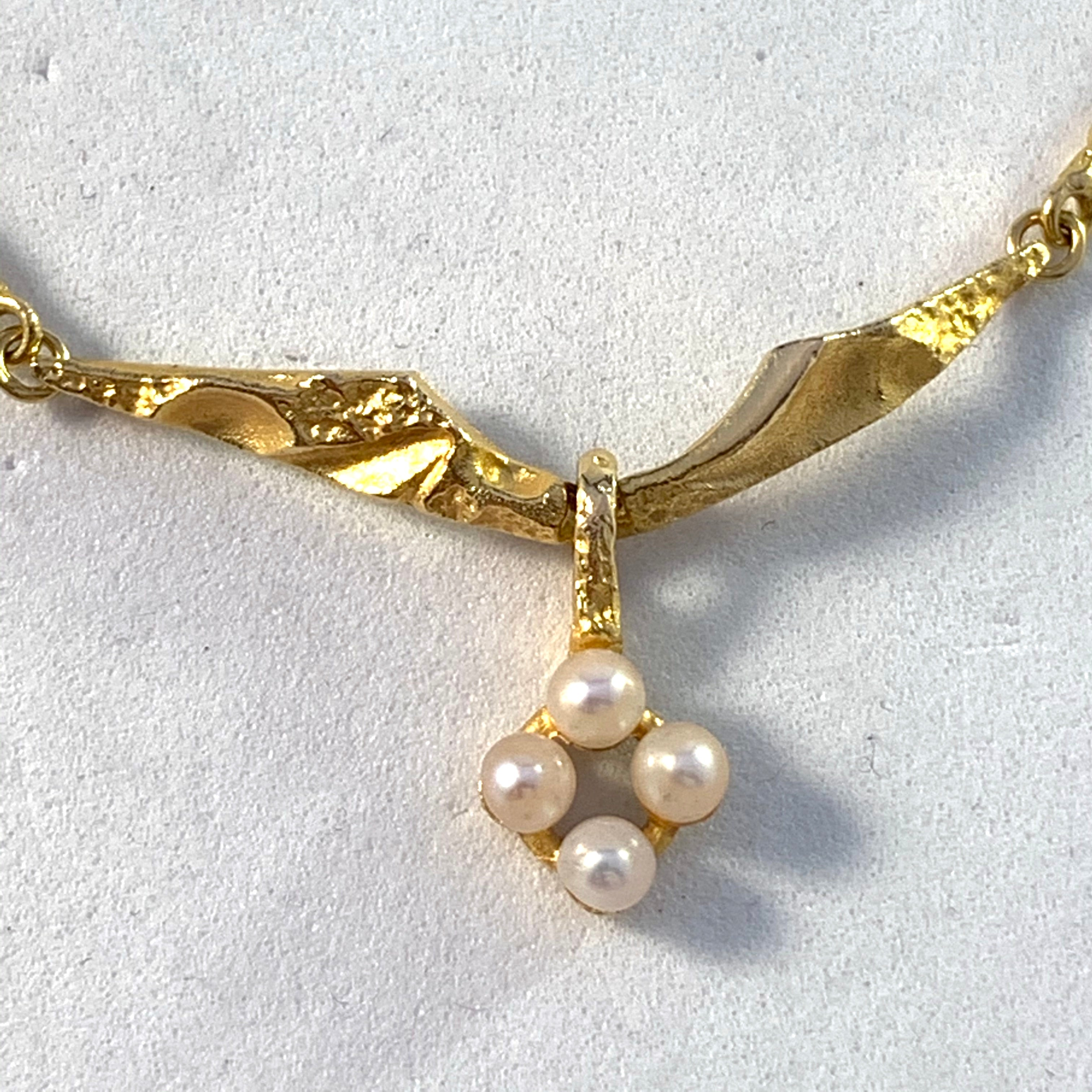 Lapponia, Finland Vintage 18k Gold Cultured Pearl Necklace.
