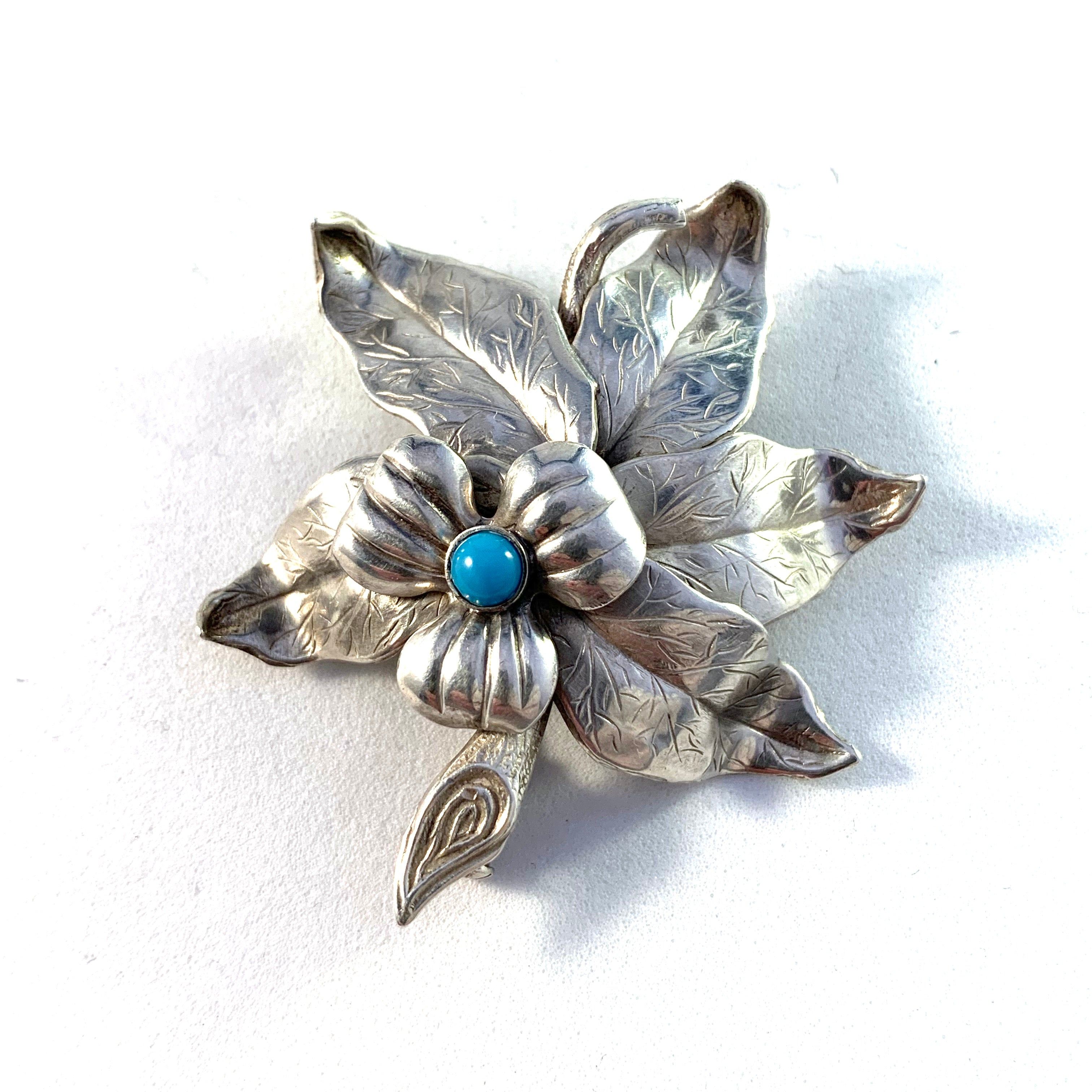 Pinco, Stockholm year 1953 Mid Century Solid Silver Turquoise Brooch.