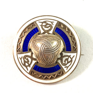 CG Hallberg, Sweden 1914 Antique Sterling Silver Enamel Jugendstil Brooch.