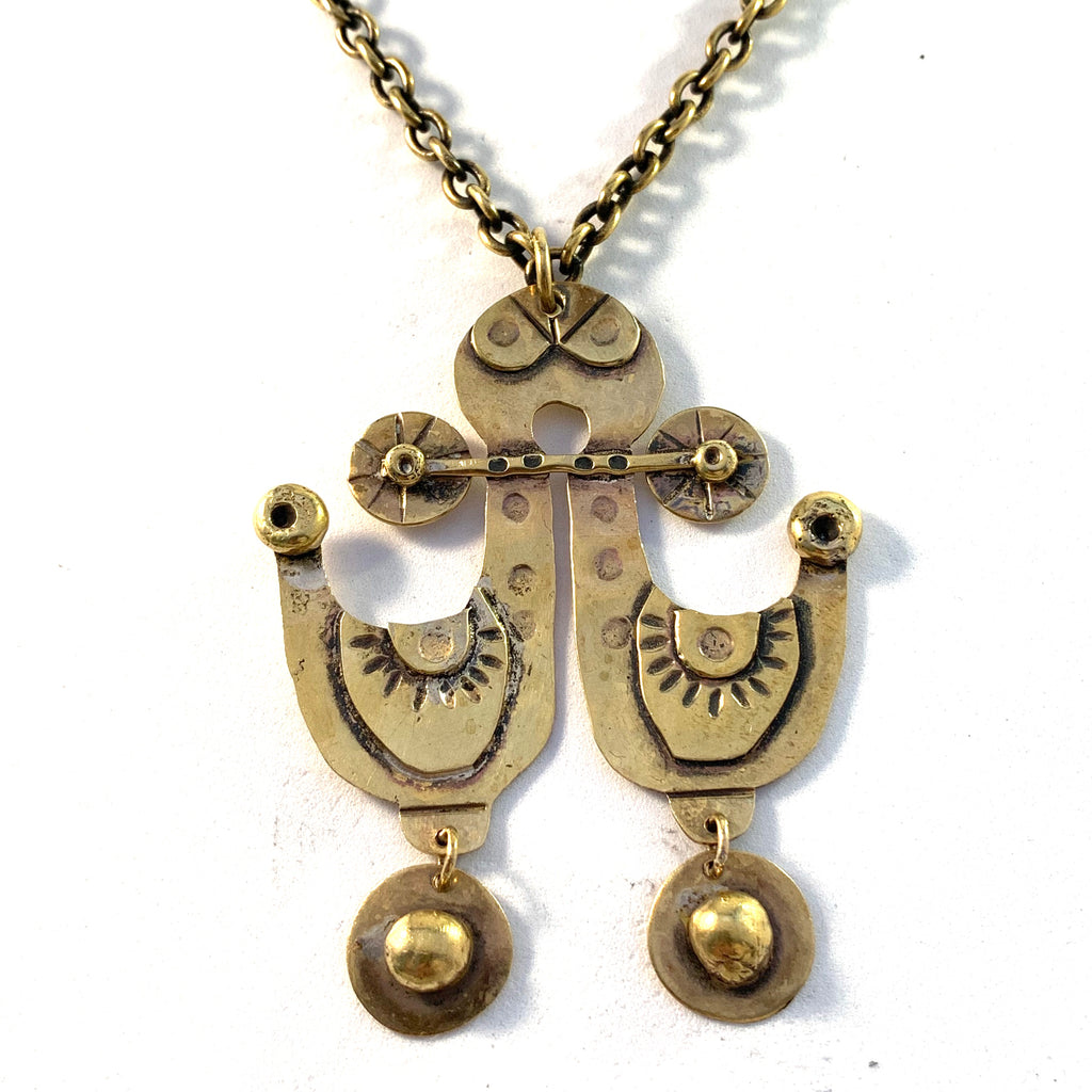 Seppo Tamminen, Finland 1970s Large Vintage Bronze Pendant Necklace.