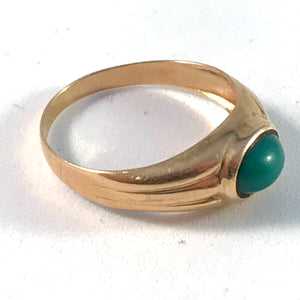 Swedish Import Mid Century 18k Gold Turquoise Ring. Size 7