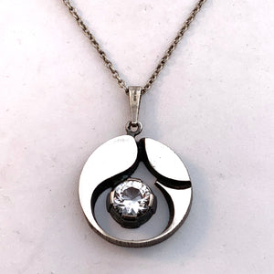 Sten & Laine, Finland 1975 Sterling Silver Rock Crystal Pendant Necklace.
