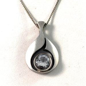 Karl Laine for Finnfeelings, Finland Vintage Sterling Silver Rock Crystal Pendant Necklace. Boxed.