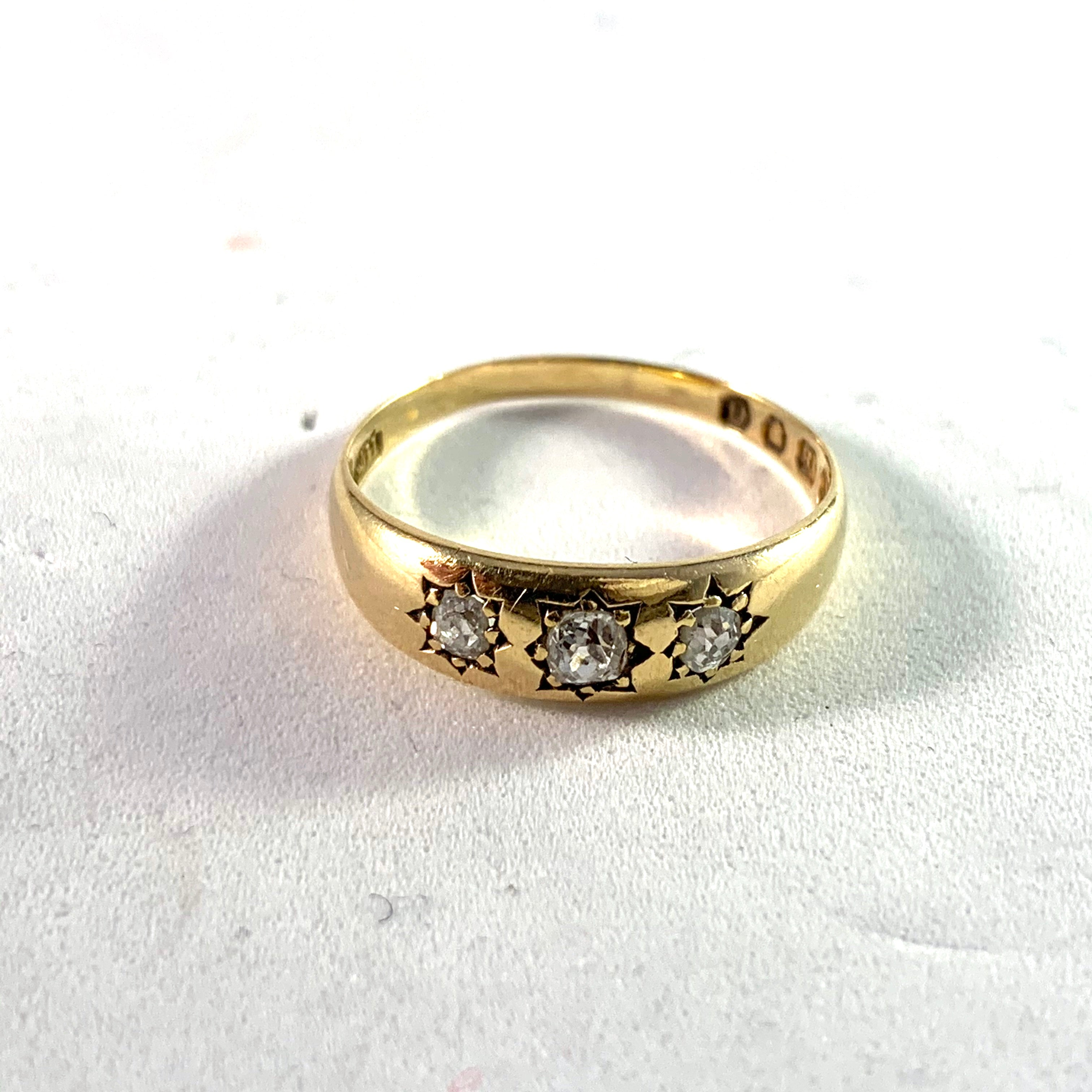 Brockwell & Son, London 1889 Victorian 18k Gold Diamond Gypsy Ring.
