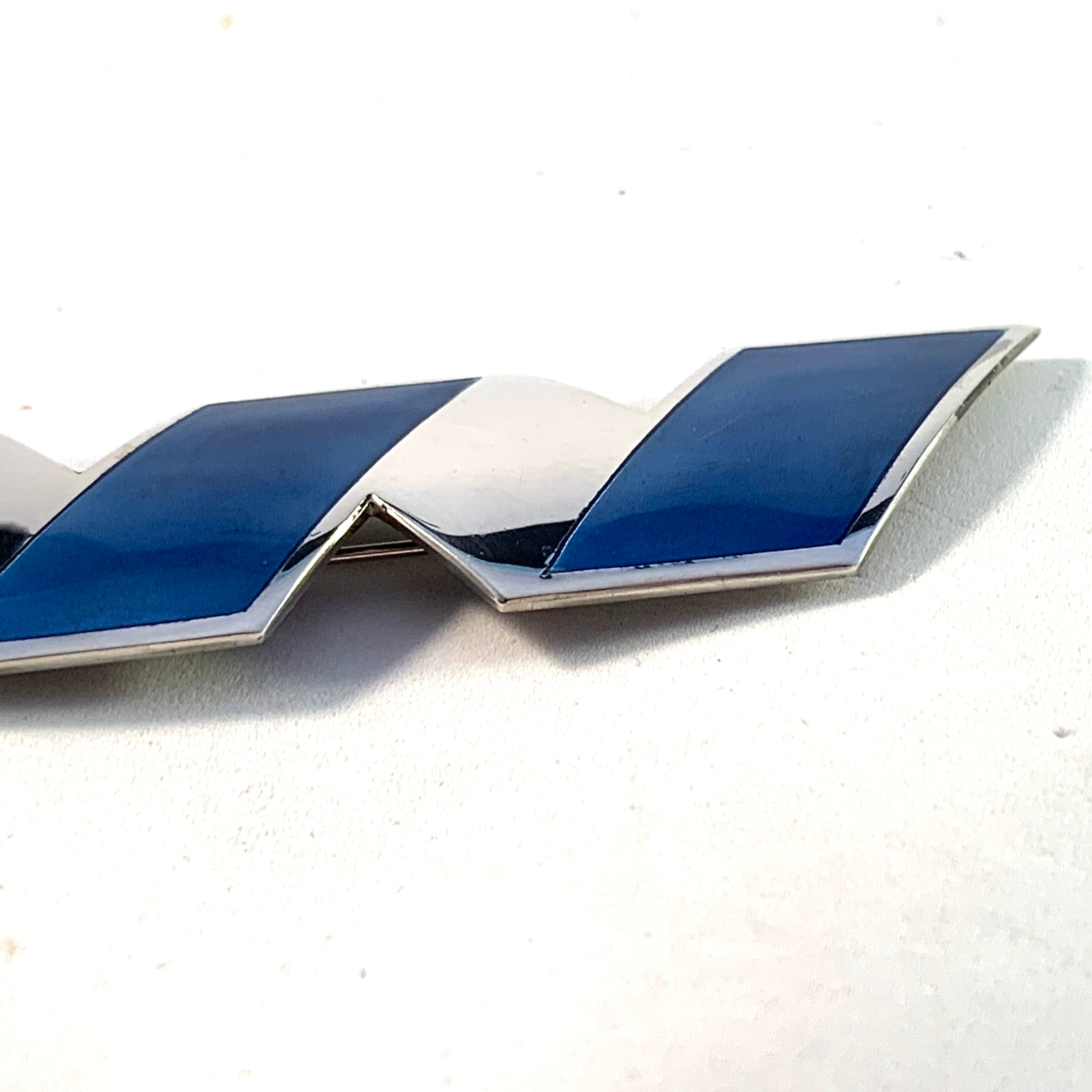 Millie Behrens for David Andersen, Norway Large 4.3in Sterling Silver Blue Enamel Brooch.
