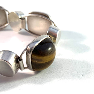 Kaplan, Stockholm year 1962 Sterling Silver Tiger-Eye Bracelet.