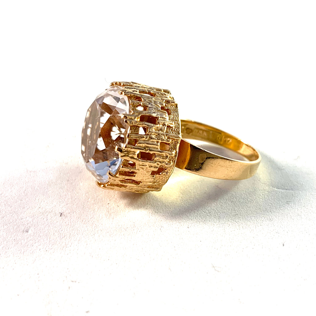 Bengt Hallberg, Sweden 1971 Vintage Modernist 18k Gold Rock Crystal Ring.