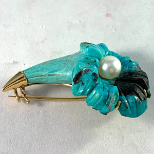 M Elmblad Stockholm 1956 Mid Century 18k Gold Carved Turquoise Pearl Flower Brooch.