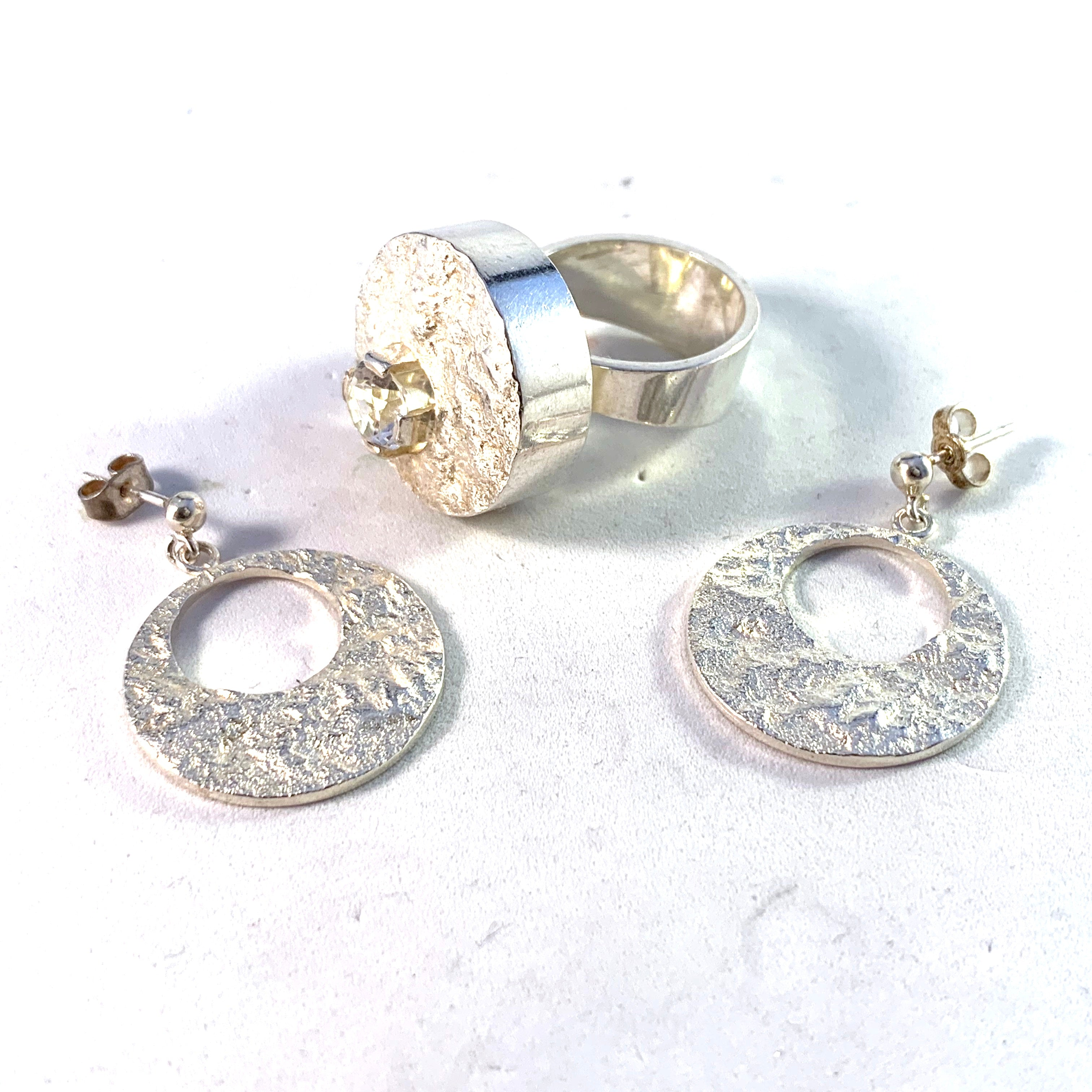Ceson, Sweden 1969 Space Age Sterling Silver Rock Crystal Ring and Earrings.