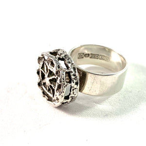 "Pentti Sarpaneva for Turun Hopea Finland 1969 Silver Ring. Design ""Pitsi"" Lace."