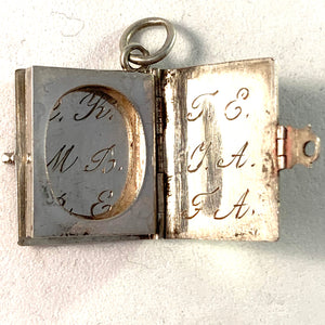 Antique Victorian year 1871 Sterling Silver Book Locket Pendant.