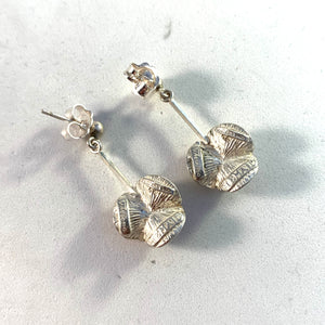 Theresia Hvorslev Sweden 1970s Sterling Silver Water Lily Earrings. Signed