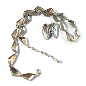 K&L-Kordes Lichtenfels, Germany 1950-60s Solid 835 Silver Necklace and Earrings.