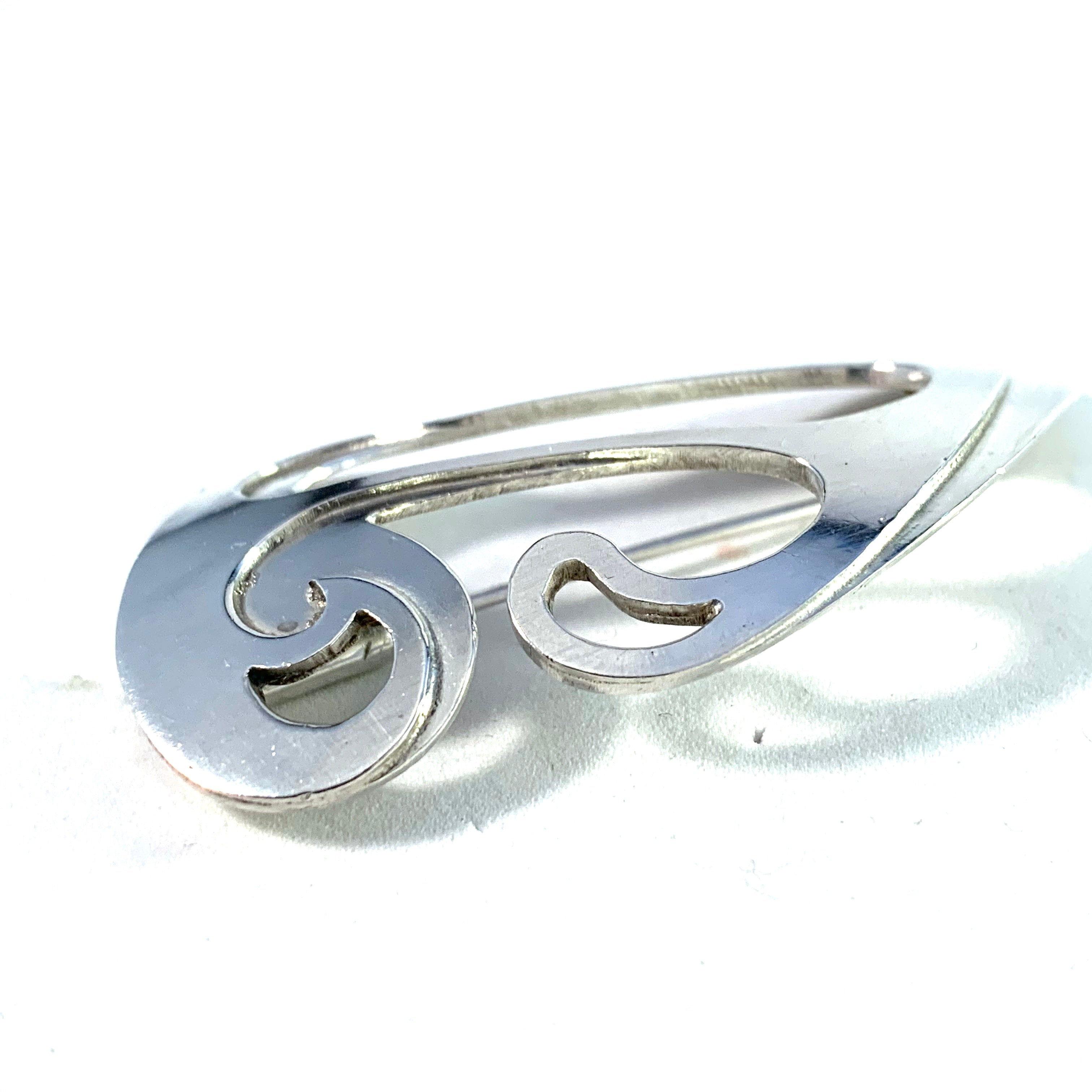 Pinco, Stockholm 1959 Mid Century Modern Sterling Silver Brooch.