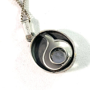 Karl Laine for Finnfeelings, Finland Vintage Solid Silver Rock Crystal Pendant Necklace. Boxed.