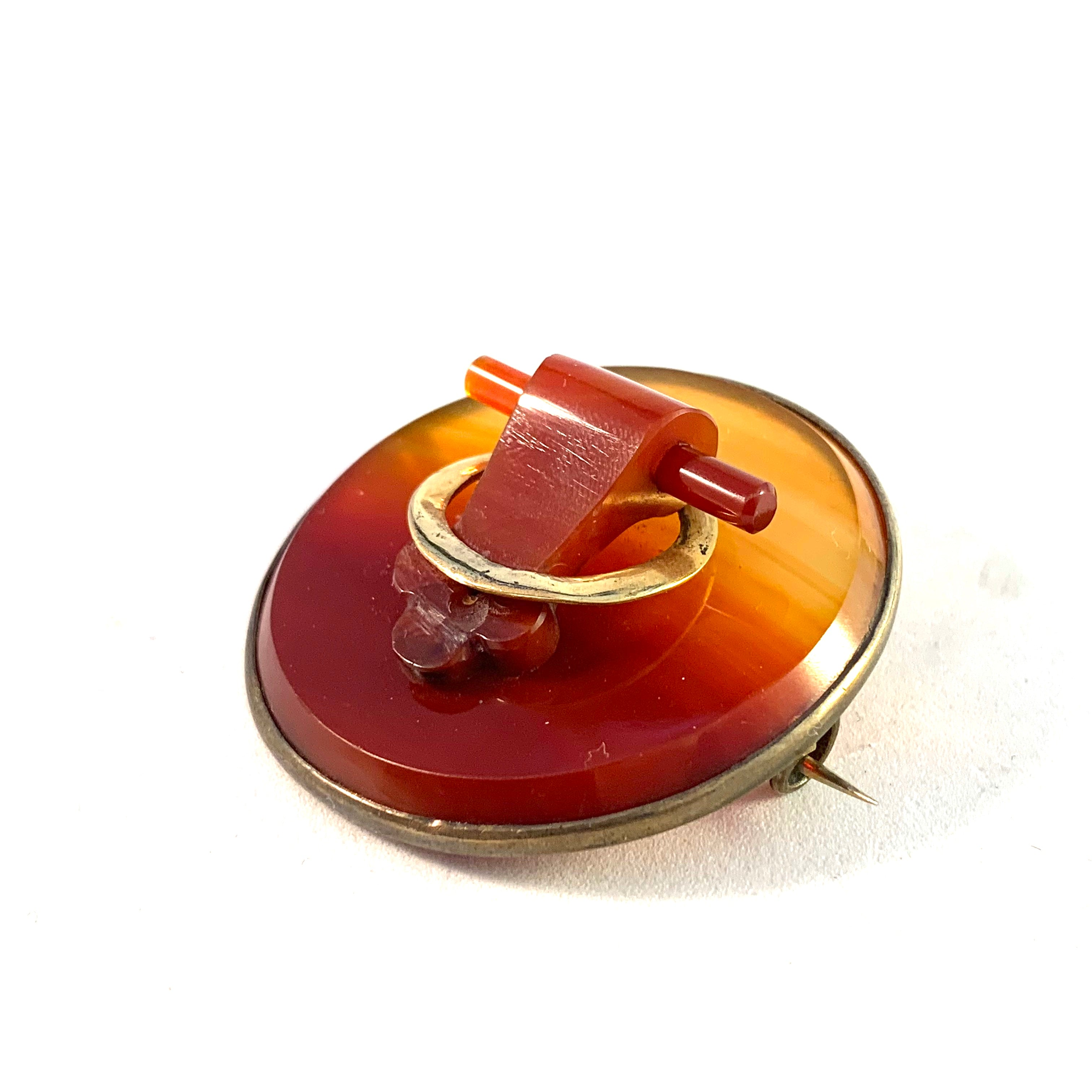 Nils Dahlström, Sweden year 1916 Antique Silver Gold Carved Agate Brooch.