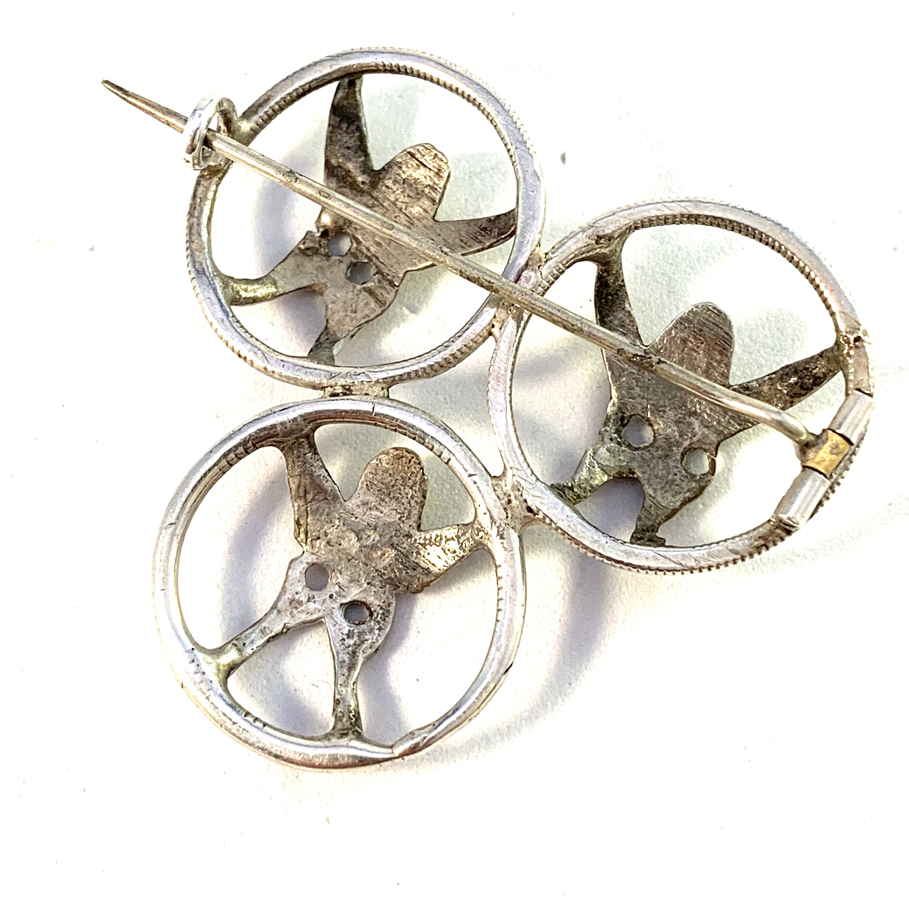 Sweden mid 1800s Antique Solid Silver Traditional Angels Brooch.
