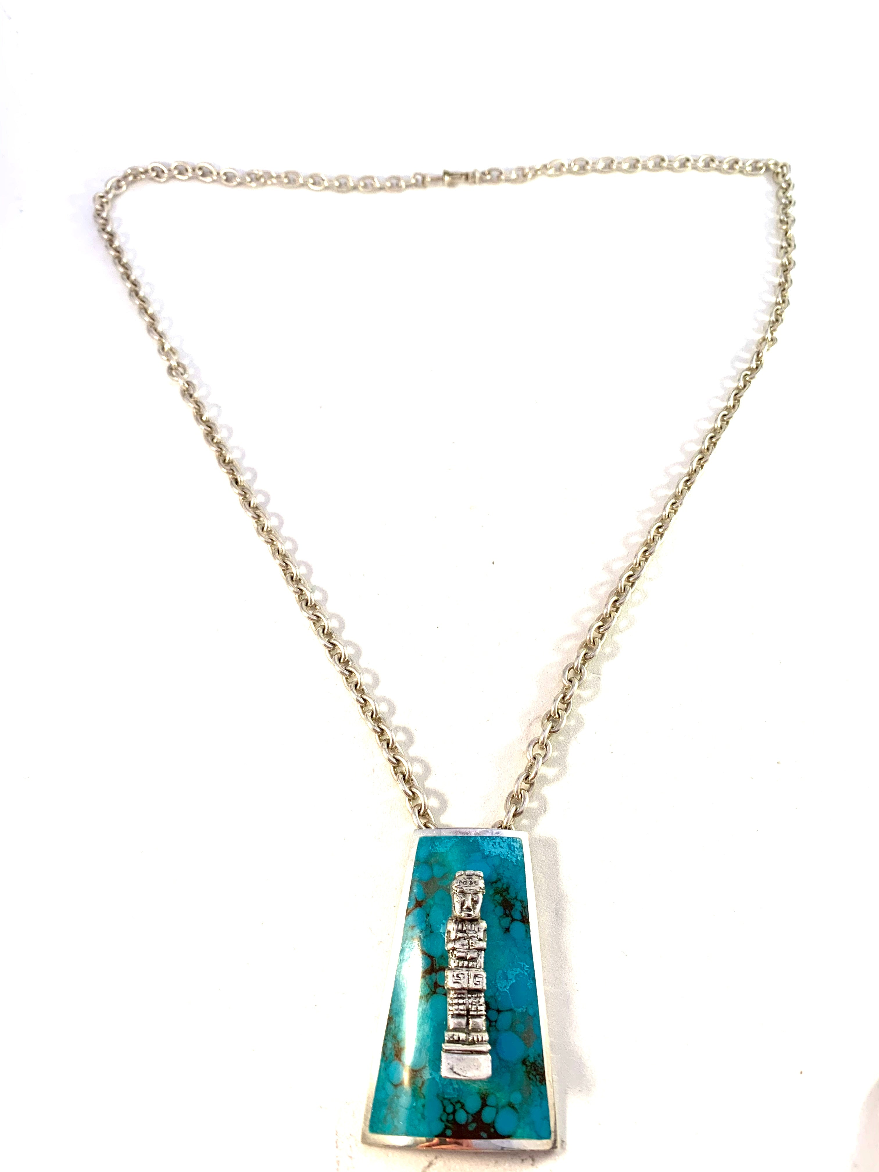 Graziella Laffi, Peru 1960s Chunky 3oz Modernist Sterling Silver Turquoise Enamel Pendant Necklace.