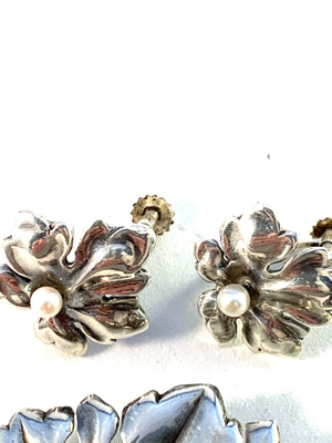 Victor Janson, Sweden 1958 Mid Century Sterling Silver Cultured Pearl Set.