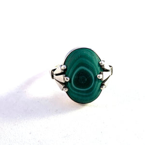 Georg Jensen, Denmark. Design 51 by Oscar Gundlach-Pedersen Art Deco Sterling Silver Malachite Ring.
