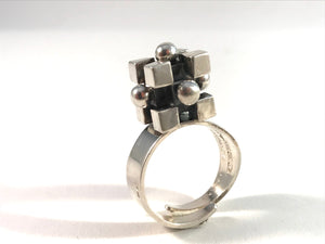 Pentti Sarpaneva Finland 1976 Bold Modernist 830 Silver Adjustable Size Ring.