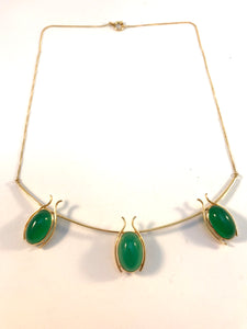 Paavo Tarkiainen, Finland year 1960. 18k Gold Chrysoprase Necklace.