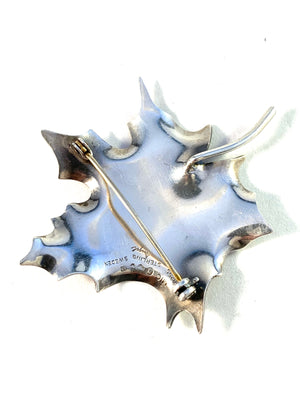 Gertrud Engel for A Michelsen Sweden 1951 Sterling Silver Maple Leaf Brooch. Signed.