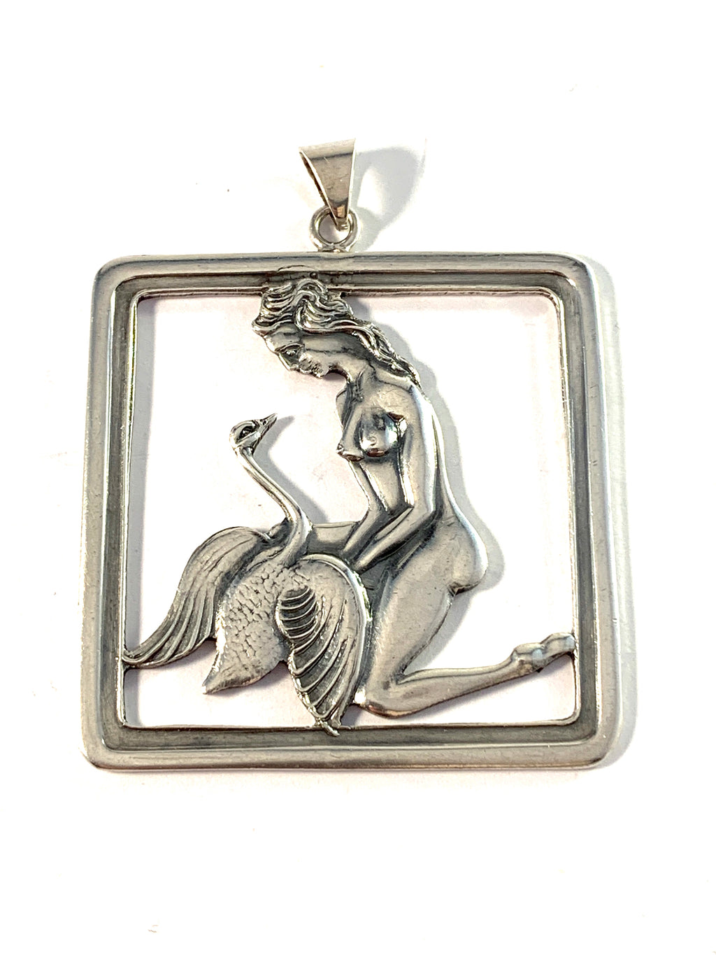Denmark 1940s. Large Solid Silver Pendant.