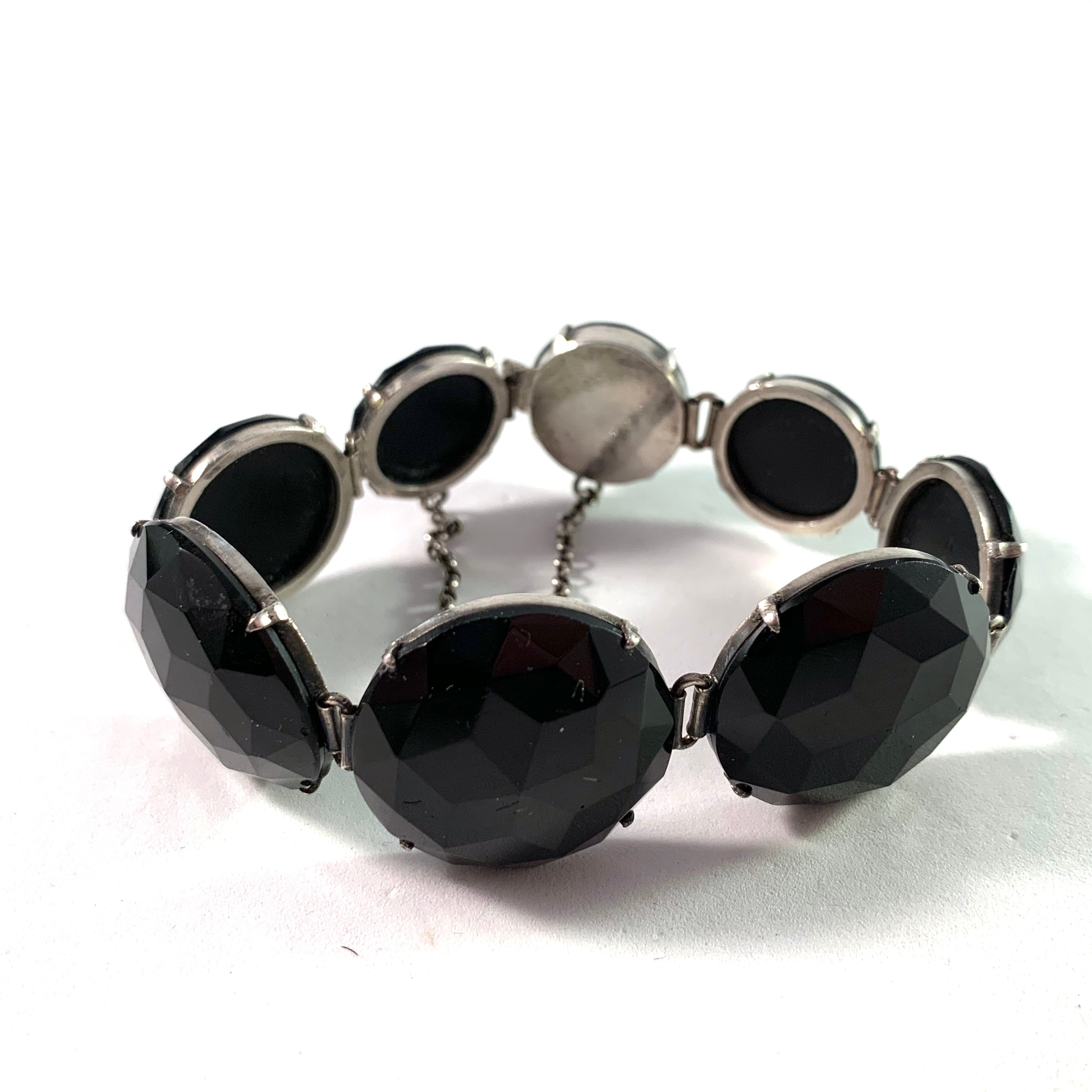 Sweden late 1800s Victorian Solid Silver Glass Jet Mourning Bracelet.