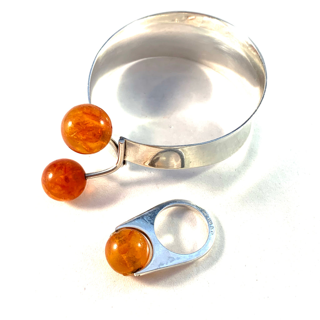 Fischland Ostseeschmuck, Germany 1960s Solid 835 Silver Baltic Amber Ring and Bracelet.