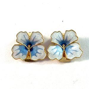 David-Andersen, Norway Vintage Sterling Silver Enamel Pansy Clip-on Earrings