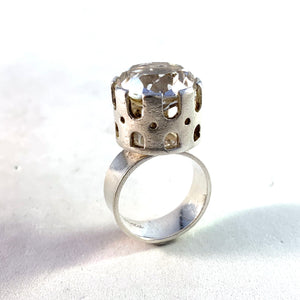 Arvo Saarela, Sweden 1967 Modernist Sterling Silver Rock Crystal Ring. Signed.
