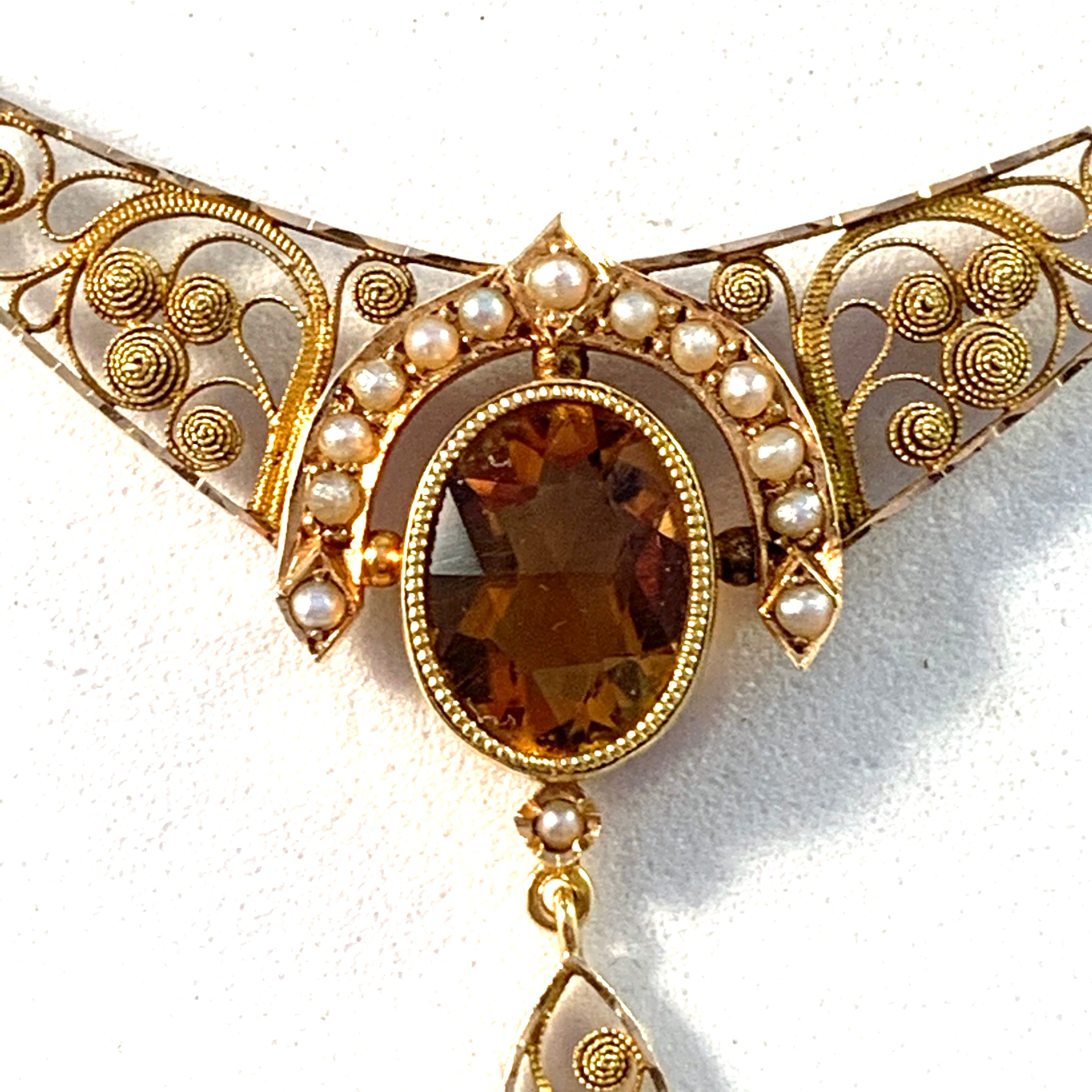 Bernhard Hertz, Sweden 1910 Edwardian 18k Gold Citrine Necklace.