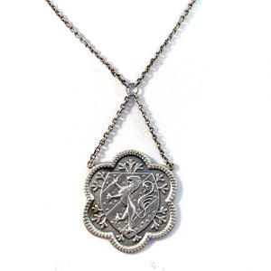 A Rylen, Sweden year 1950 Mid Century Sterling Silver Griffin Pendant Unisex Necklace