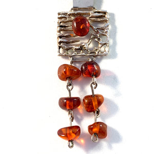 Fischland Ostseeschmuck, Germany 1960-70s 835 Silver Baltic Amber Necklace.