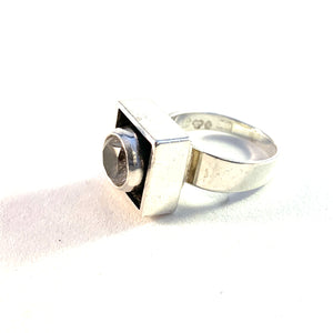 Alton, Sweden 1967 Modernist Sterling Silver Rock Crystal Ring.
