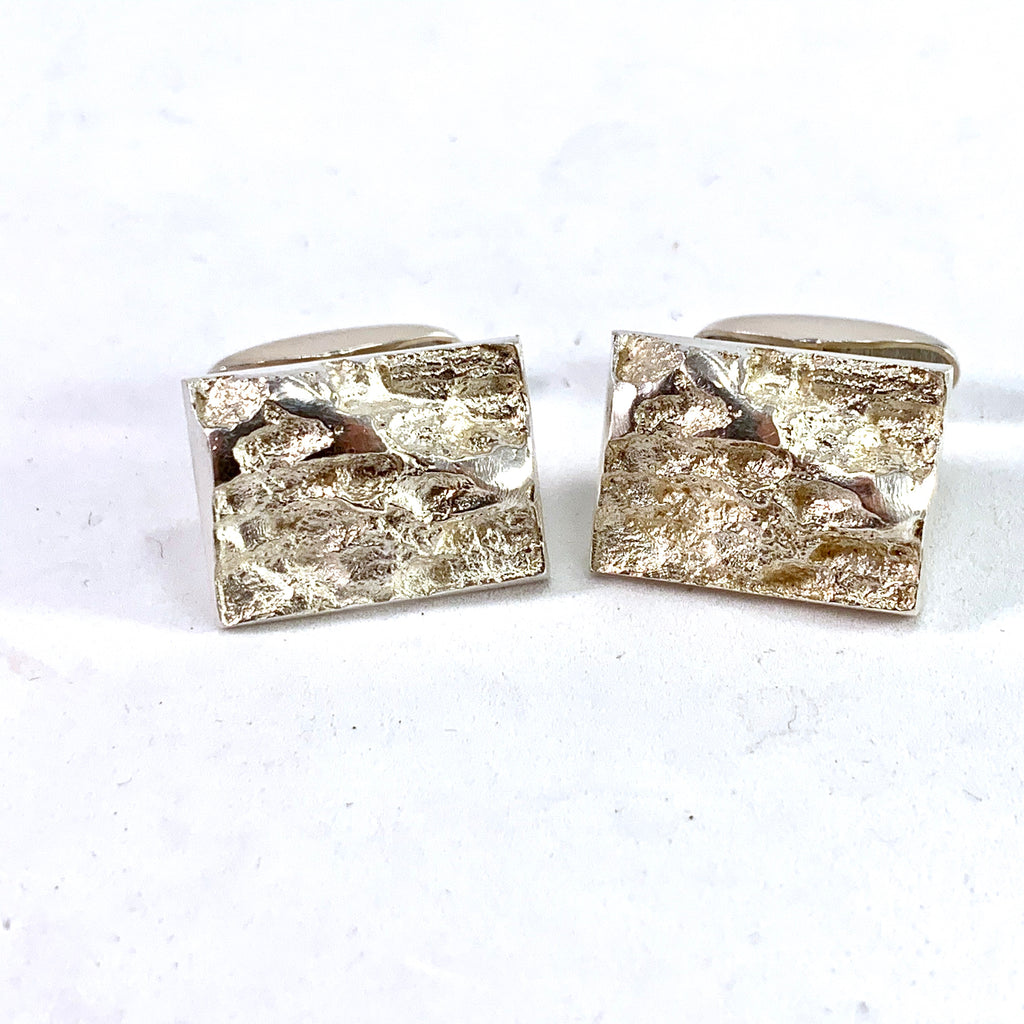 Erin, Finland year 1973 Brutalist Solid 830 Silver Pair of Cufflinks.