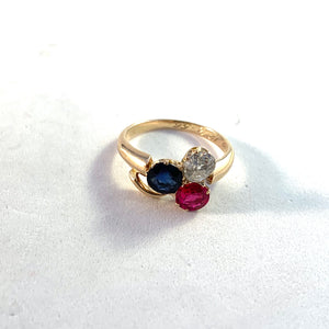 Sweden 1956 Mid Century 14k Gold 0.5ct Diamond Synthetic Ruby and Sapphire Ring.