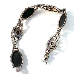 Swedish Import c 1920s Solid Silver Glass Jet Mourning Bracelet.