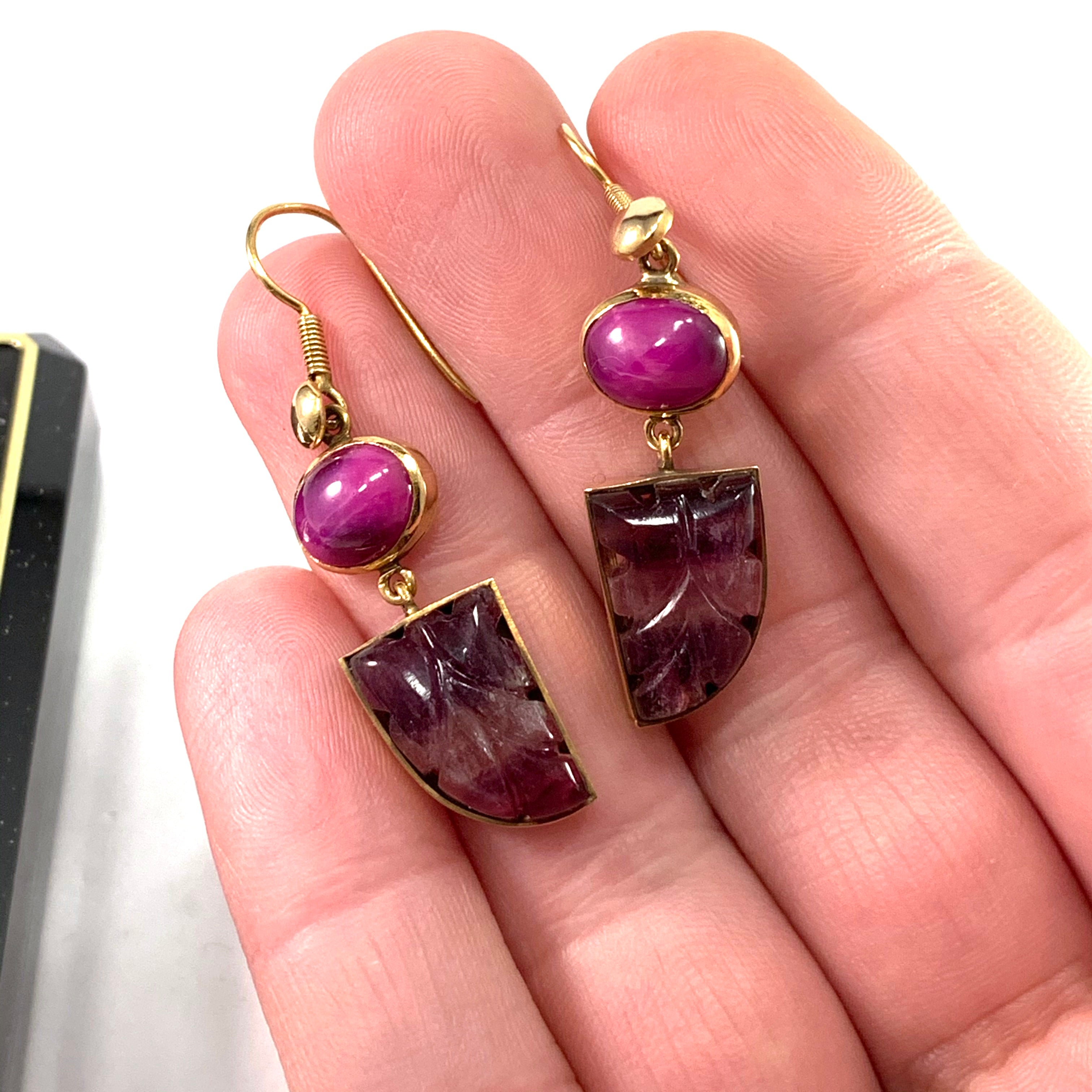 Vintage 14k Gold Pink Star Sapphire Carved Amethyst Dangle Earrings.