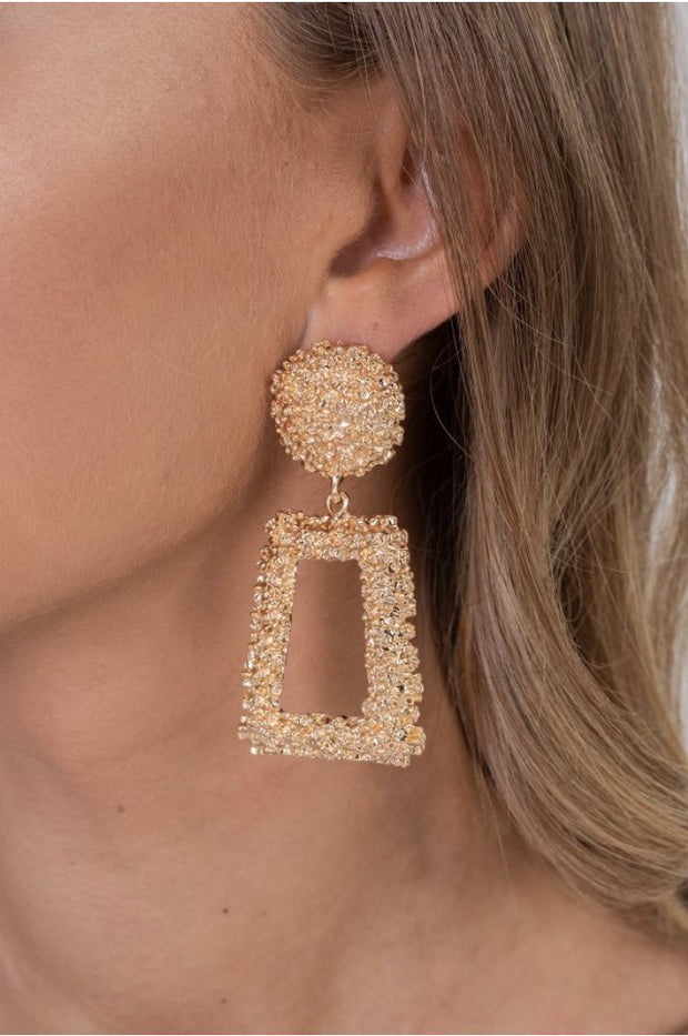 Gold Diamond Box Earring - OURGIRL dresses