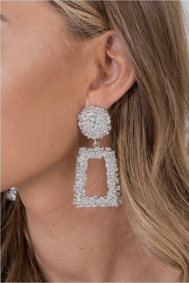 Silver Diamond Box Earrings - OURGIRL dresses