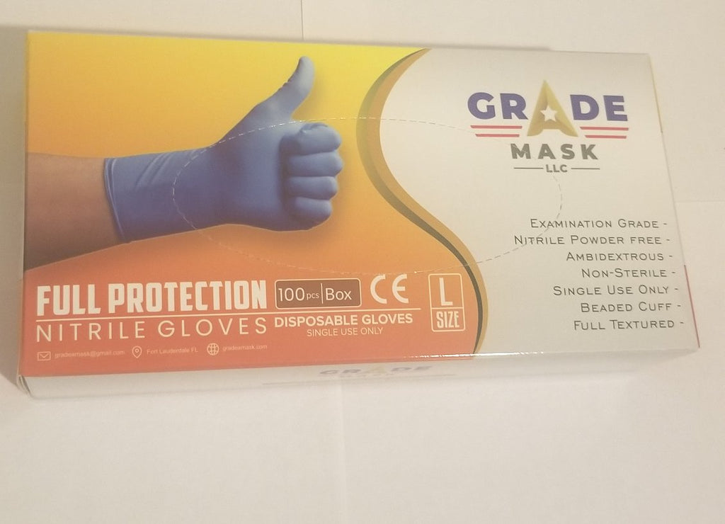 Large Nitrile Powder Free Safety Gloves