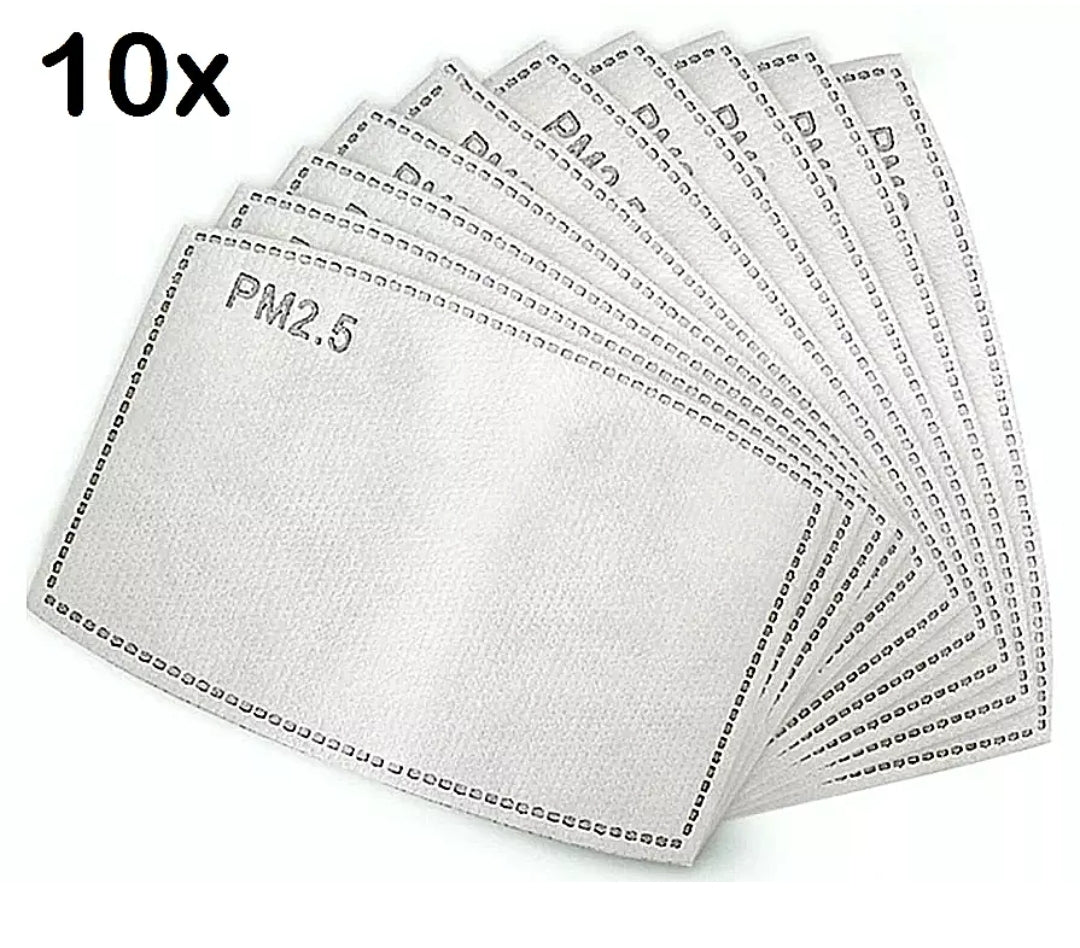 10 Pack PM2.5 Adult 5 Layer Activated Carbon Face Mask Filter Replacements