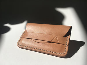 Minimalist slim leather wallet [hand sewn] card holder