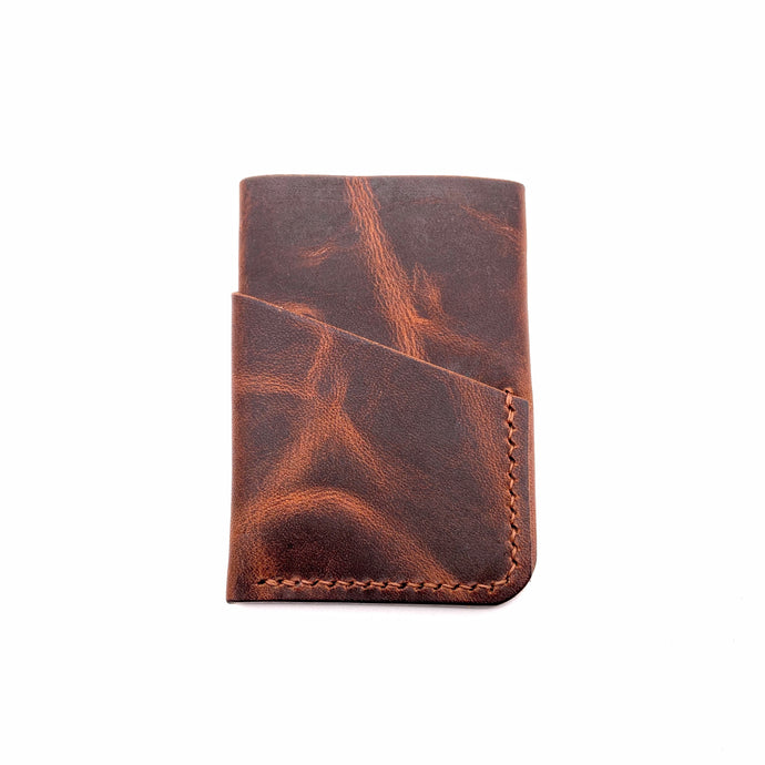 Rustic brown leather 3 pockets wallet [hand sewn]